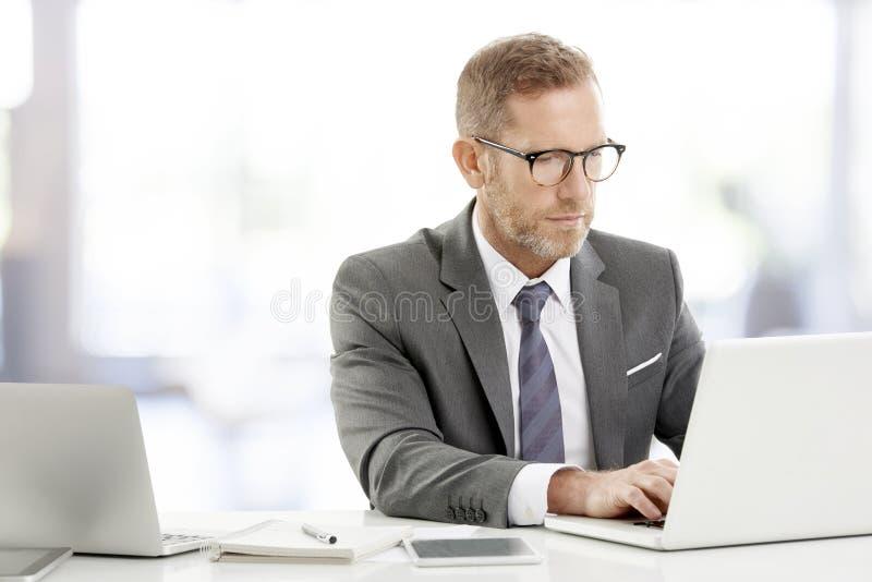 Consejero financiero con el ordenador portátil imagenes de archivo