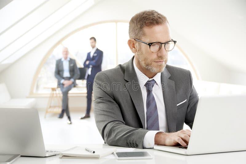 Consejero financiero con el ordenador portátil imagen de archivo