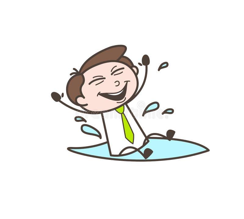 Consejero financiero de la historieta feliz que juega en agua stock de ilustración