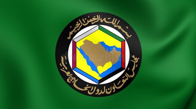 Consejo de cooperación para los estados árabes de la bandera del golfo ilustración del vector