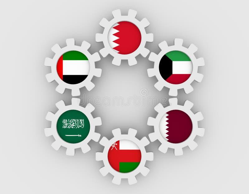 Consejo de cooperación para los estados árabes de las banderas de los miembros del golfo en los engranajes imagen de archivo