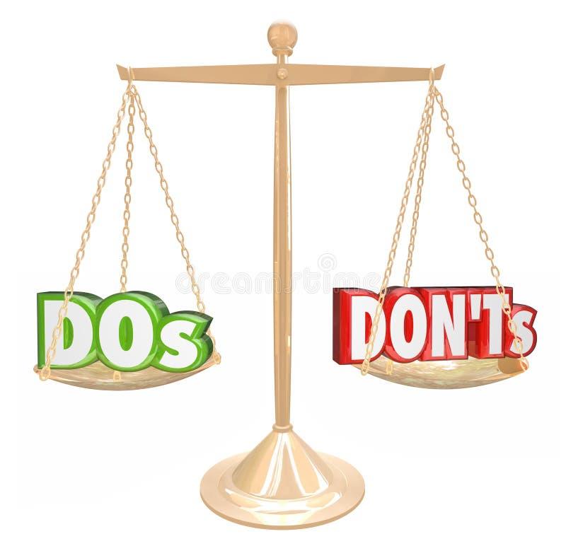Conselho mau da escala do Dos e do ouro das palavras de Donts bom ilustração stock