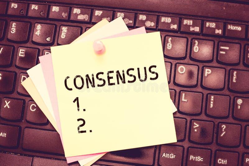 Consenso concettuale di rappresentazione di scrittura della mano Accordo generale del testo della foto di affari circa l'evento t immagine stock