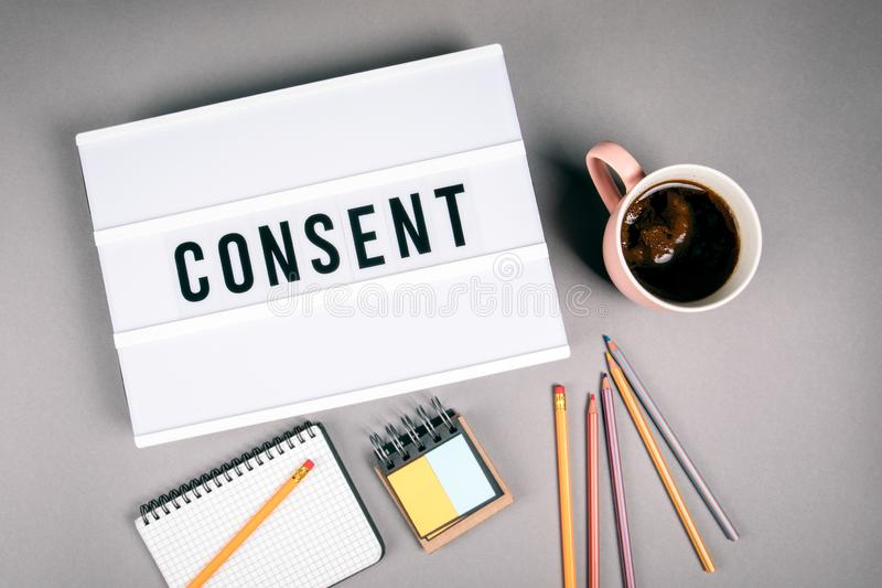 consenso Testo in scatola leggera immagini stock libere da diritti