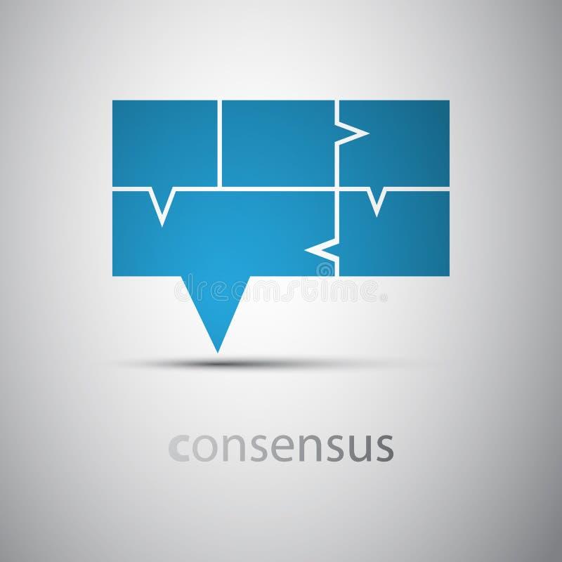 Consensus - concept de bulle de la parole illustration stock