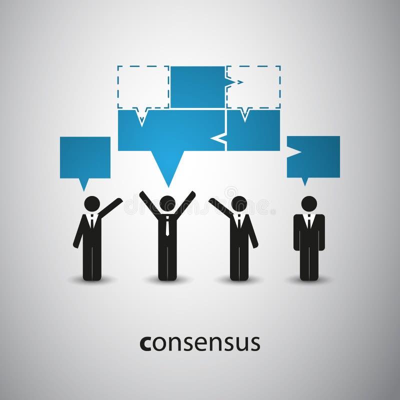 Consensus - concept de bulle de la parole illustration libre de droits