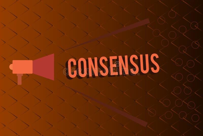 Consensus conceptuel d'apparence d'écriture de main Accord général des textes de photo d'affaires au sujet d'événement soumis par illustration de vecteur