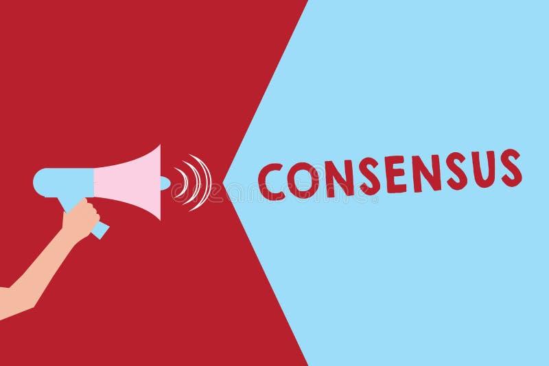 Consensus d'apparence de signe des textes Accord général de photo conceptuelle au sujet d'analyse soumise particulière d'événemen illustration stock
