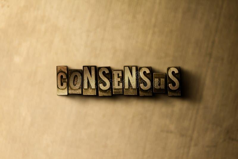 CONSENSUS - plan rapproché de mot composé par vintage sale sur le contexte en métal illustration de vecteur