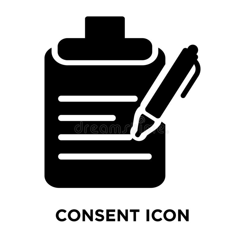 Consent icon vector isolated on white background, logo concept o royalty free illustration