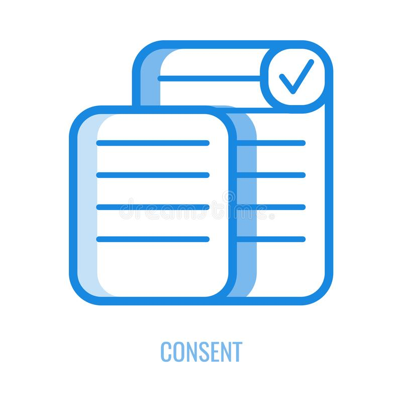 Consent line icon - outline symbol of documents with personal information and checkbox with mark. stock illustration