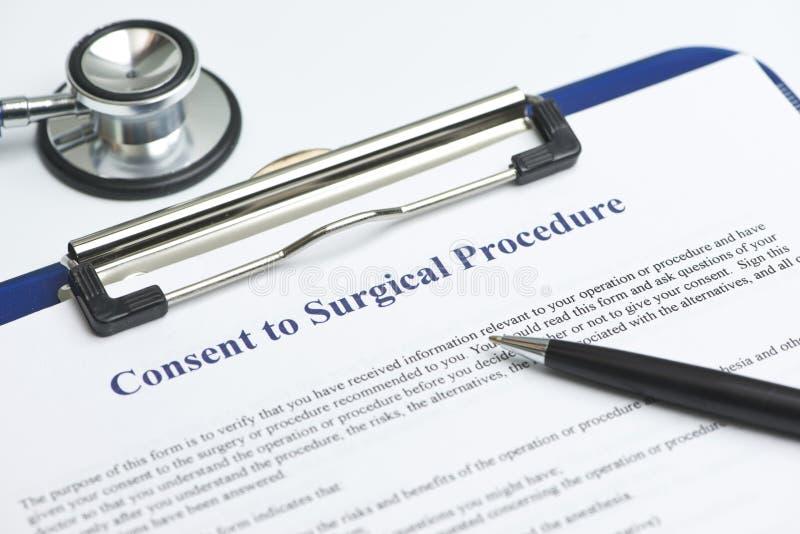Consentement au courant de chirurgie image stock