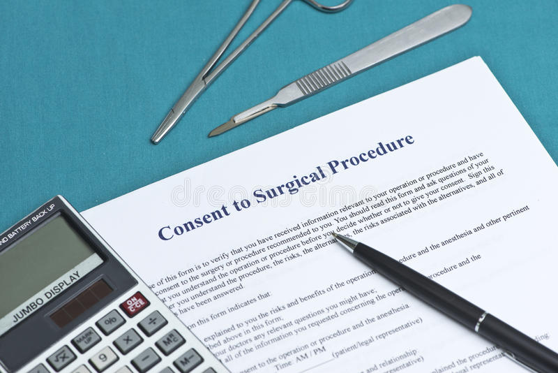 Consentement au courant de chirurgie photo libre de droits