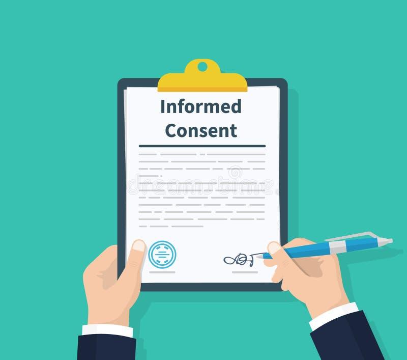 Consentement de l'information de prise d'homme Document humain de signes Affaires ou accord médical Planchette à disposition Conc illustration de vecteur