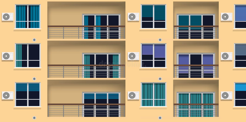 Consequência do aquecimento global com os condicionadores de ar exteriores na fachada de uma construção ilustração do vetor