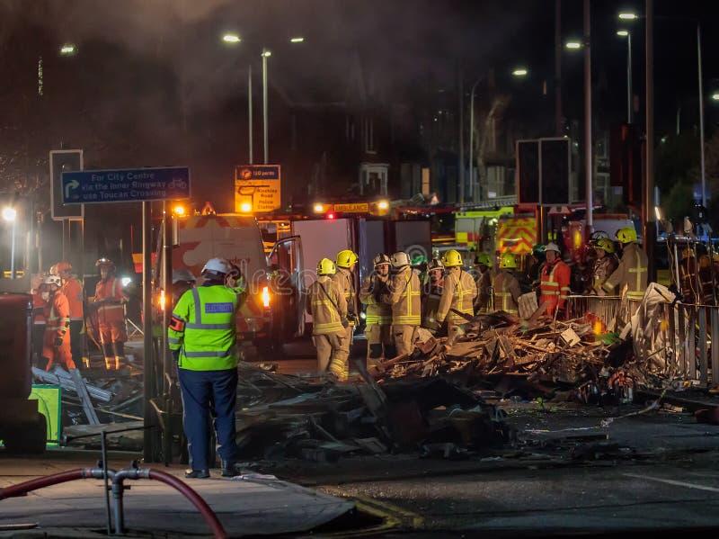 Consequências da explosão na estrada de Hinckley imagens de stock