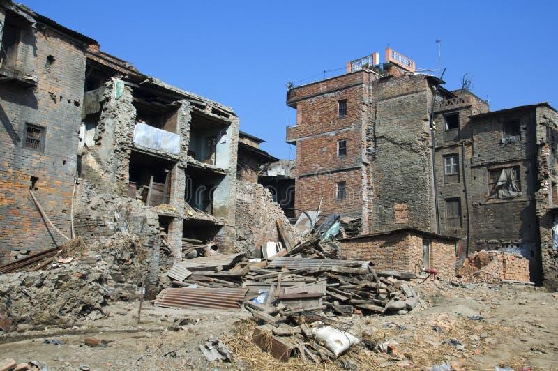 Consequências do terremoto Bhaktapur, Nepal: fotografia de stock royalty free