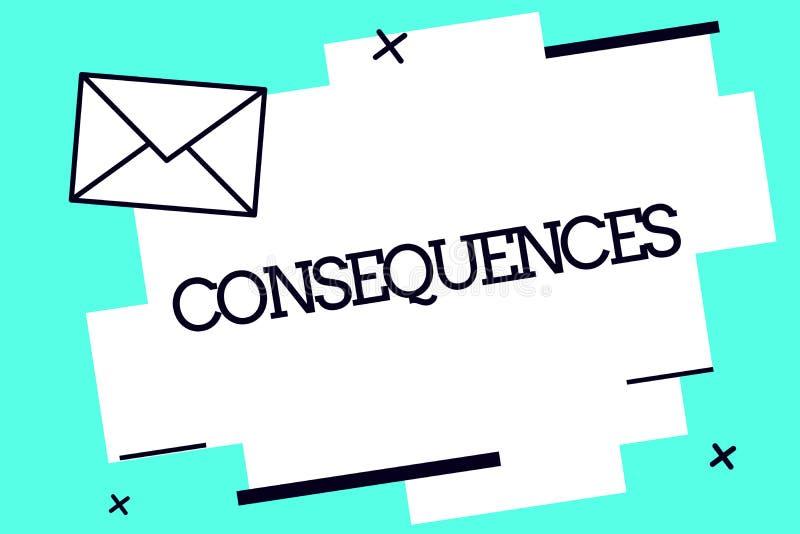 Consequências do texto da escrita Conceito que significa o resultado do efeito ou o resultado de algo ocorrência mais adiantada ilustração royalty free