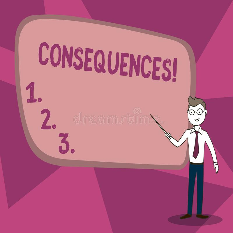 Consequências do texto da escrita da palavra Conceito do negócio para a conclusão da ramificação da dificuldade das consequências ilustração stock