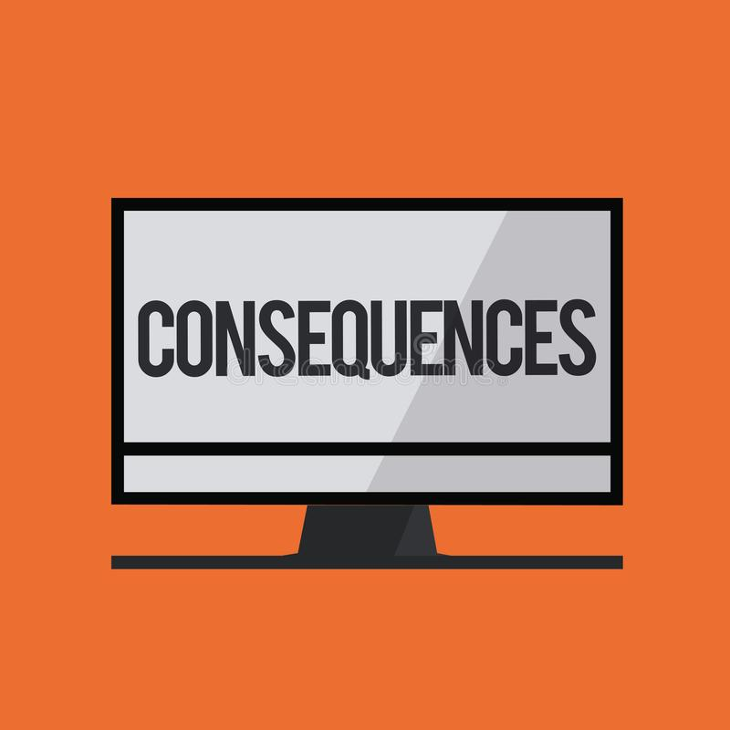 Consequências do texto da escrita da palavra Conceito do negócio para o resultado do efeito ou o resultado de algo ocorrência mai ilustração royalty free