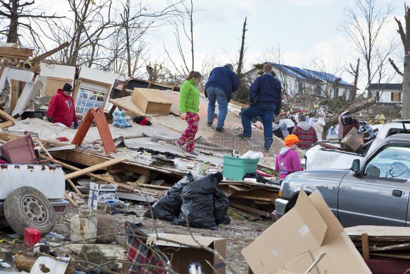 Consequências em Henryville, Indiana do furacão fotografia de stock