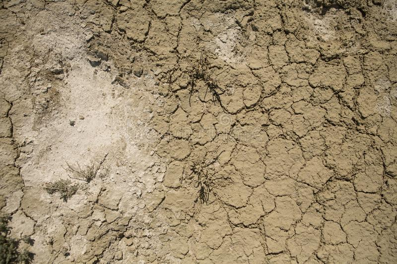 Consequences of Aral sea catastrophe. Sandy salt desert on the place of former bottom of Aral sea royalty free stock photography