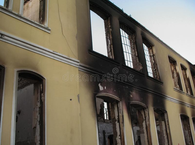 Consequences of armed conflict in Georgia, South Ossetia. Destroyed buildings and equipment stock photo