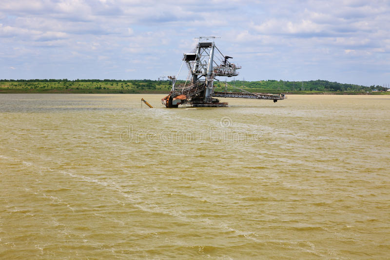 Consequences of catastrophic flood in the open pit mine. Serbia, Balkan royalty free stock photography