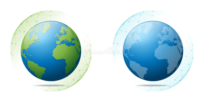 Conservação e conceito ambientais da globalização com terra na rede poligonal da esfera ilustração stock