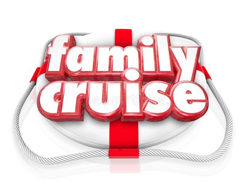 Conservante de vida del día de fiesta de las vacaciones del paseo del barco de la travesía de la familia junto stock de ilustración