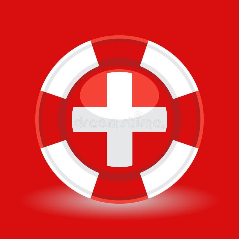 Conservateur de bouée de sauvetage/vie avec le concept croisé médical d'icône sur le fond rouge illustration libre de droits