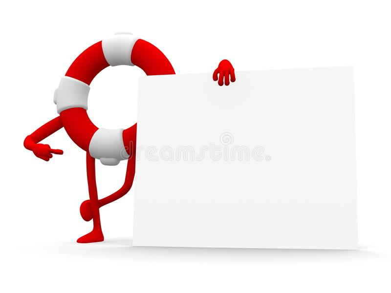 Conservateur de dessin animé et un panneau blanc illustration de vecteur
