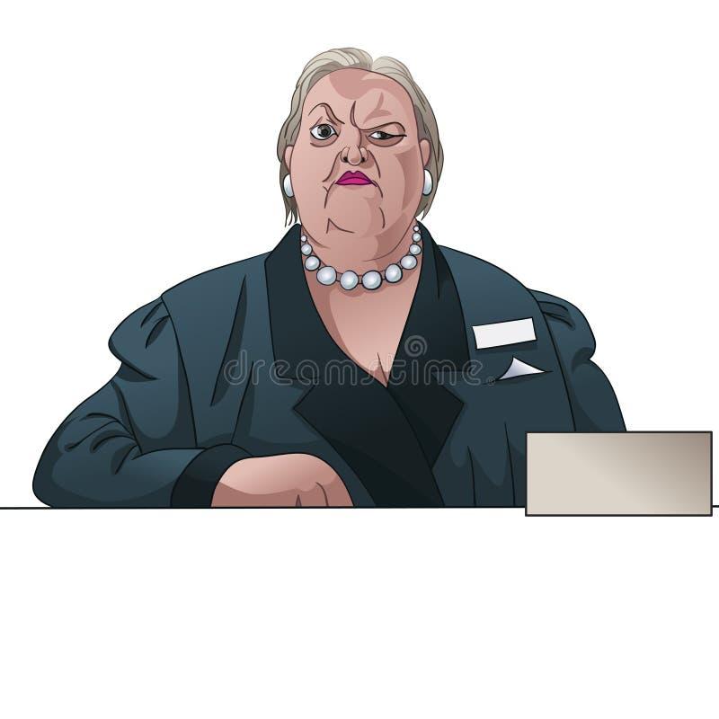 Conservateur ou inspectrice sombre de dame derrière le compteur illustration libre de droits