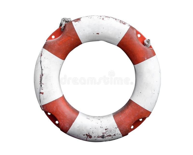 Conservateur rustique d'isolement de bouée de sauvetage ou de vie image stock