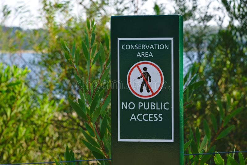 Conservation Area No Public Access Sign royalty free stock images