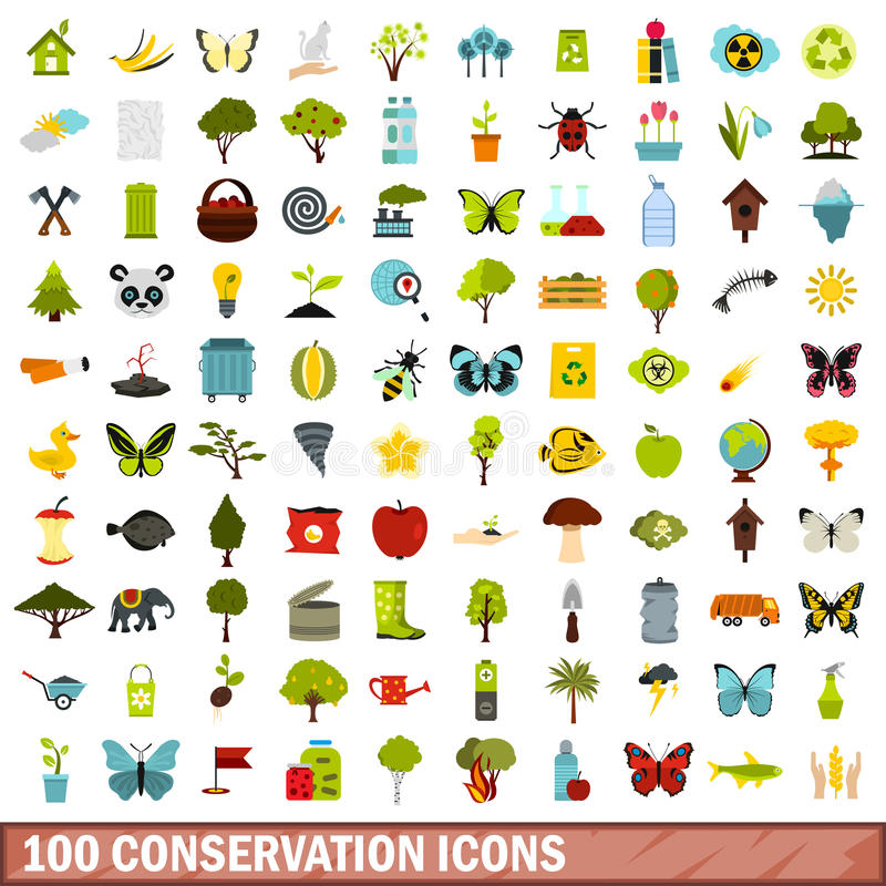 100 conservation icons set, flat style. 100 conservation icons set in flat style for any design vector illustration vector illustration