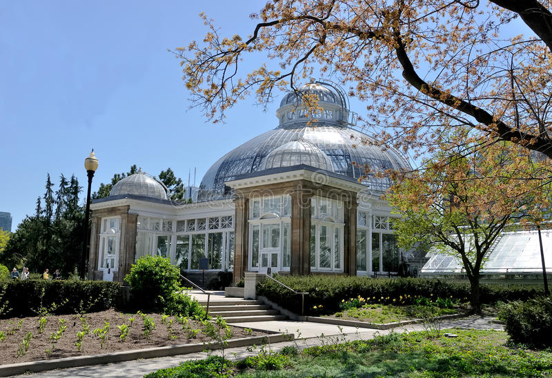 Conservatory Exterior. Greenhouse with domed glass roof stock image