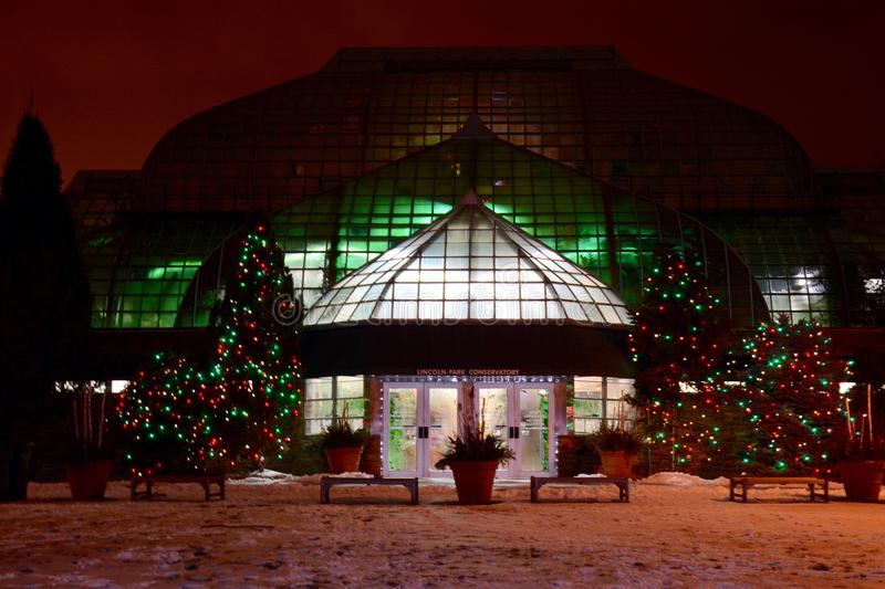 Conservatory In Holiday Lights. This is a Winter picture of the Lincoln Park Conservatory located in Chicago, Illinois lighted for the Christmas Holidays after stock images