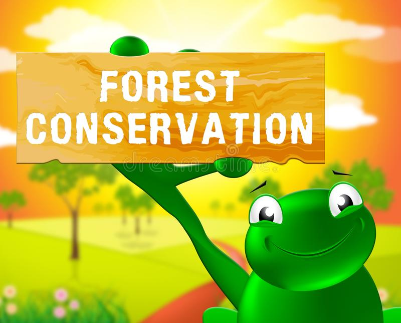 Conservazione 3d Illustrat di Forest Conservation Sign Shows Natural illustrazione vettoriale