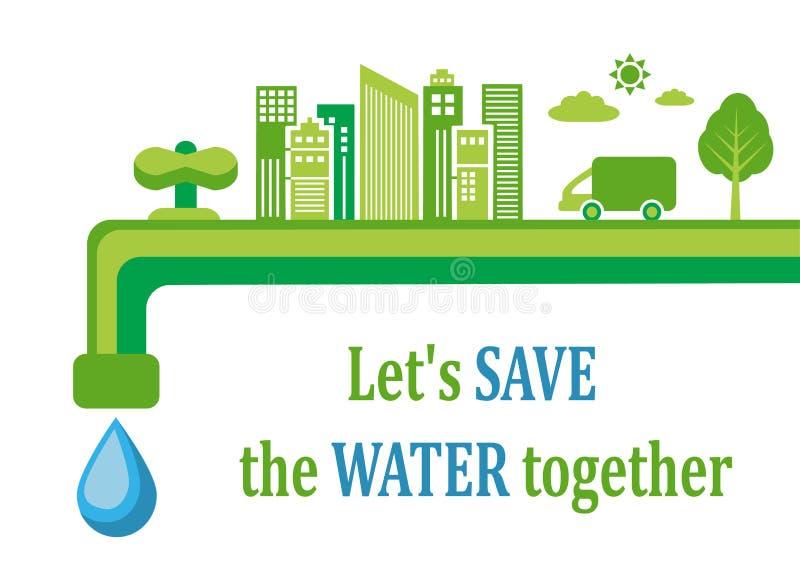 Conservazione dell'acqua ed ecologia illustrazione vettoriale