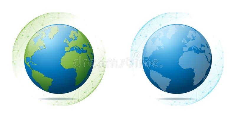 Conservazione e concetto ambientali di globalizzazione con terra nella rete poligonale della sfera illustrazione di stock