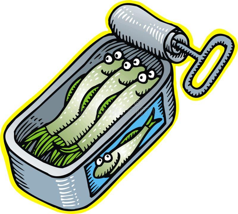 Conserve com peixes ilustração do vetor