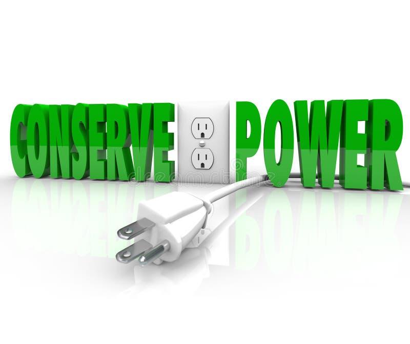 Conserve a conservação de energia elétrica das economias da tomada do cabo do poder ilustração royalty free