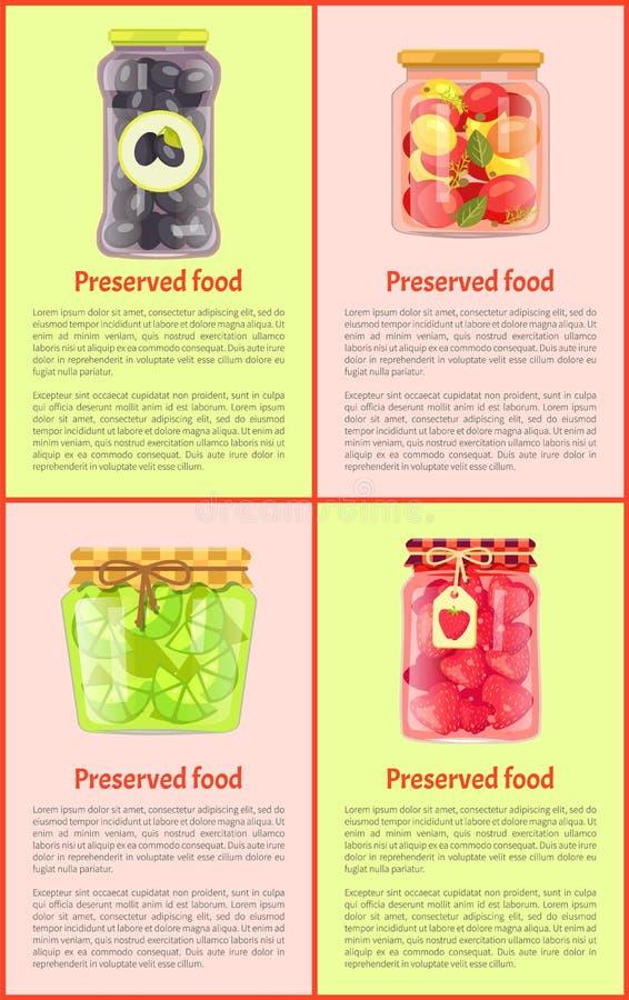 Conserve, Vruchten en Groenten, Affiches stock illustratie
