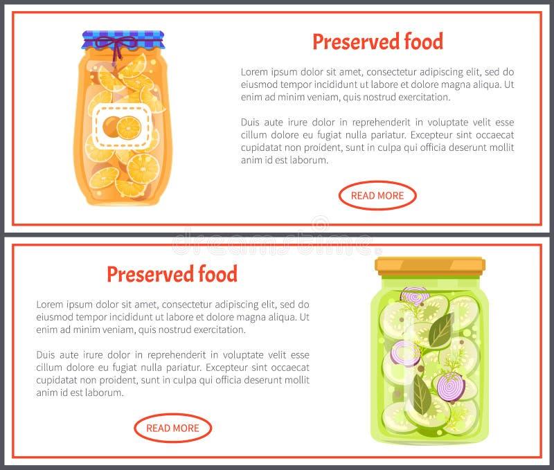 Conservebanners met Sinaasappelen en Komkommers vector illustratie