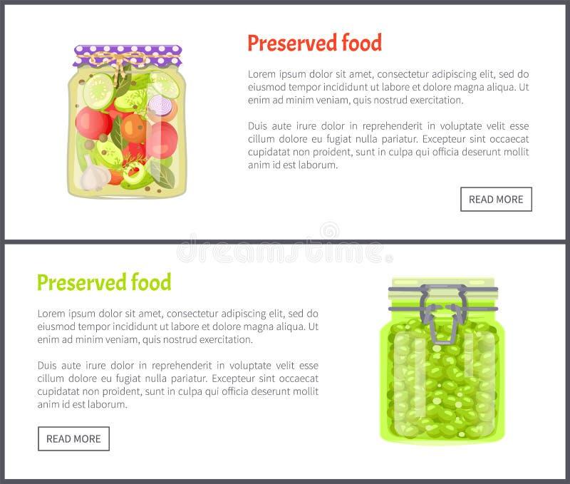 Conservebanners met Tomaten en Druiven stock illustratie