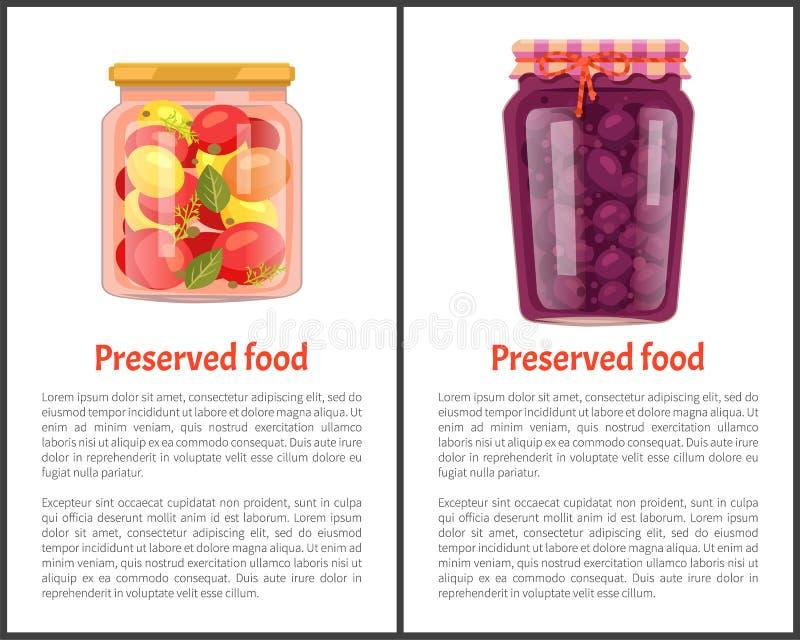 Conservebanners, Vruchten of Groenten vector illustratie