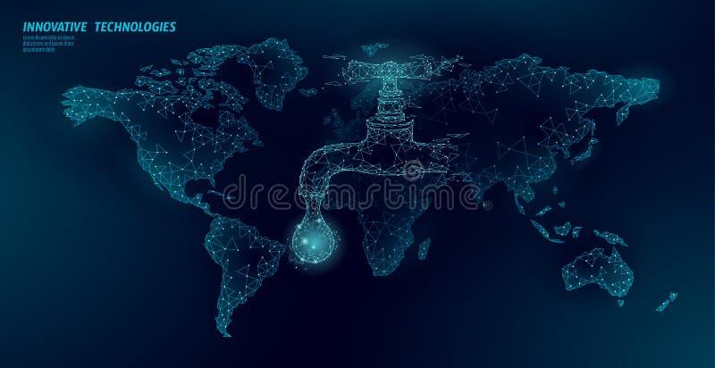 Conservi concetto basso globale dell'acqua il poli Insegna poligonale di sicurezza del mare dell'oceano della mappa di mondo del  illustrazione vettoriale
