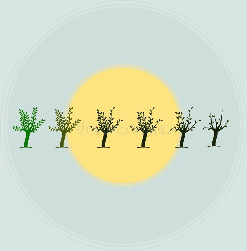 Conservi gli alberi conservano il vettore e l'illustrazione della terra illustrazione vettoriale