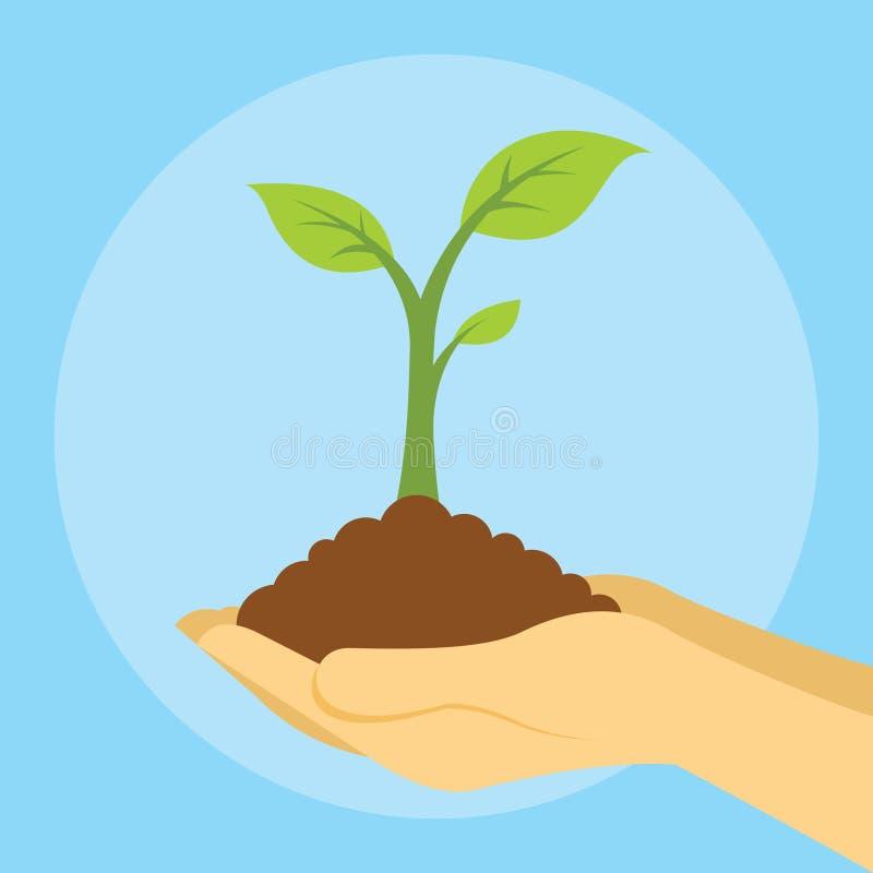 Conservi gli alberi della pianta della terra con la pianta della tenuta delle mani royalty illustrazione gratis